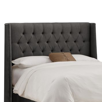 Diamond Tufted Nail Button Wingback Linen Upholstered Headboard | www.hayneedle.com