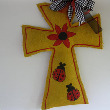 Burlap Cross Door Hanger in yellow with ladybugs