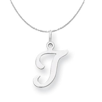Sterling Silver, Sophia Collection, Small Script Initial T Necklace