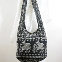 Black Cotton Printed Standing Elephants Crossbody Shoulder Hippie Boho Hobo Messenger Bag E-EB05
