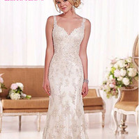 Modern Sexy Mermaid Style Sleeveless Backless Appliques Wedding Dresses Custom Size Bridal Vestidos de Novias Robe de Mariage