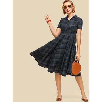 Button Half Placket Flared Hem Plaid Dress