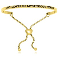 Yellow Stainless Steel God Moves In Mysterious Ways Adjustable Bracelet