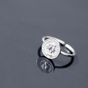 Coins Ring 925 Silver Punk Jewelry Vintage Anel Charm Minimalism Joyas Haut Bague Femme Aneis Anelli Rings for Women Anillos