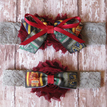 Harry Potter Garter Set | Hogwarts Houses Wedding Garters | Bridal Garter and Toss Garter