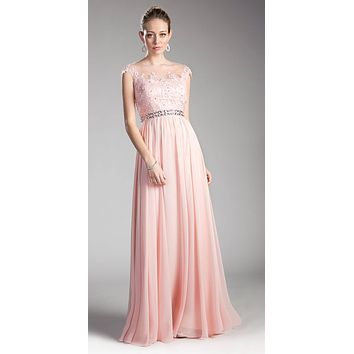 Blush Cap Sleeved Long Formal Dress Illusion with Appliques