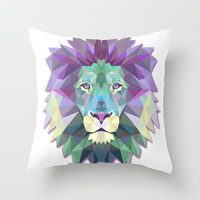 Colorful Lion Throw Pillow by Smyrna