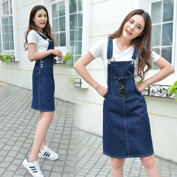 Denim Dress Summer Slim Spaghetti Strap Skirt Korean One Piece Dress [10201397127]