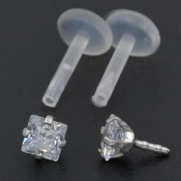 2Piece  16G  Flexible Labrets and  Bio Flex CZ Monroe PTFE Round Heart Cubic Zirconia Labret Put In lip ring Body Jewelry