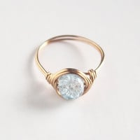 Brass Frozen Blue Ice Ring - unique rings