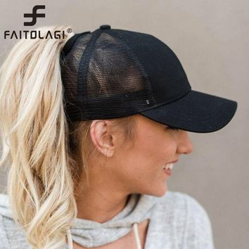 f47214d331b 2018 Ponytail Baseball Cap Women Messy Bun Baseball Hat Snapback