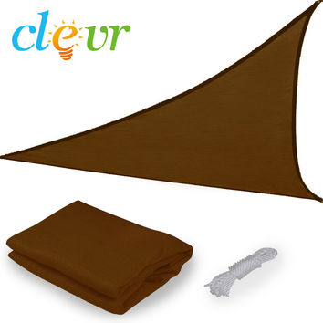New Premium Clevr Sun Shade Canopy Sail 16.5ft Triangle UV Outdoor Patio Brown