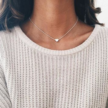 Heart Shape Pendant Choker Necklace