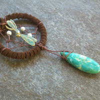 Dream Catcher Necklace Suede Patina Dragonfly  / by MidnightsMojo