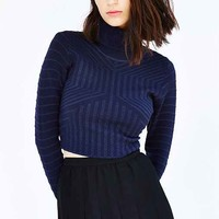 Glamorous Textured Cropped Turtleneck Sweater