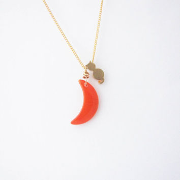 Orange crescent moon necklace. Minimalistic necklace.  cosmic jewelry