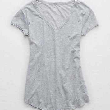 Aerie Real Soft® V-Neck Tee, Creme Blue