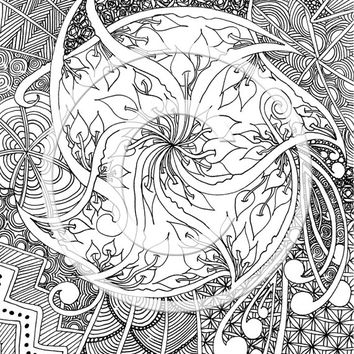 Tangle colouring page for children and adults, instant download, hand drawn colouring page, Zentangle patterns