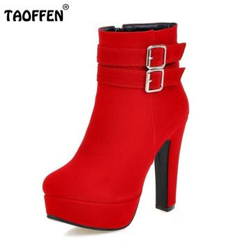 TAOFFEN Size 30-48 Women High Heel Boots Zipper Winter Warm Round Toe Shoes Woman'S Square Heel Platform Footwear Zapatos Mujer