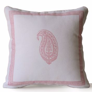 Decorative Throw Pillow Ivory Cotton Pink Paisley Pillow Case Asian Decor Present Wedding Anniversary Engagement Housewarming