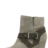 Chinese Laundry Ultimate Grey Suede Leather Wedge Booties