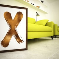 "X O Set - 2 x Prints 11x14 or 12x16 (A3) Typography Art ""XO"" Hugs & Kisses Bronze Foil"