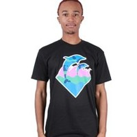 Mainland Skate and Surf - Pink Dolphin Blue Camo Waves Tee-Pink Dolphin-GuysT-ShirtsApparelApparel & FootwearT-Shirts