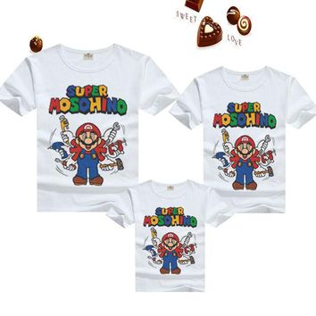DCCKWQA T shirts family matching outfits clothing mother & kids blouse shirt mario summer cartoon for daughter father clothes son tees