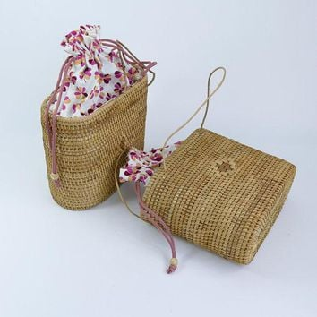 Bammboo Ack Vintage Beach Straw Handbag Purse
