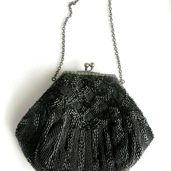 Vintage 30s 40s Black Beaded Evening Purse, Beaded Evening Bag