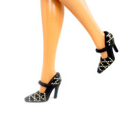 Barbie Doll Shoes - Black and Gold Fashion Doll Shoes