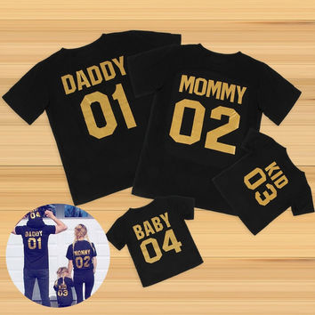 2017 New Arrival Family Look Family Clothing short Sleeve t shirt DADDY MOMMY KID BABY Girl Boy Clothes Family Matching Clothes