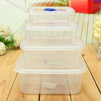New Arrival Rectangle Microwave Refrigerator Crisper Plastic Lunch Box Bento Home Kitchen Sorting Food Container Storage Boxes