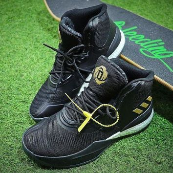 LMFUX5 Adidas D Rose 8 Boost Black Gold Hight Basketball Shoes CQ1618-1