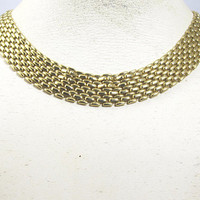 Gold Panther Link Necklace, Machine Age Basket Weave Tank Tread Gold Metal Collar Choker