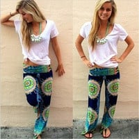 Women Harem Aladdin Causal Wide Leg Gypsy Yoga Long Pants Palazzo Trousers Baggy [7640903046]