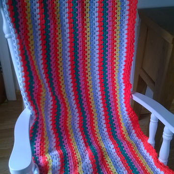 Handmade Striped Crochet Blanket throw in bright colours Great for picnics, campervan, bed, sofa. Blue, green, white, orange, yellow, pink