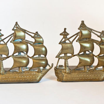 Vintage Victory Brass Sailboat Bookends, Sailing Ship Galleon Pirate Ship Clipper Book Ends, Nautical Home Decor