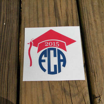 Graduation Cap Vinyl Monogram Decal - Circle Font - 2015 - 2016 - High school - College - Tumbler - Car - Laptop - DIY - Gift - Sticker -