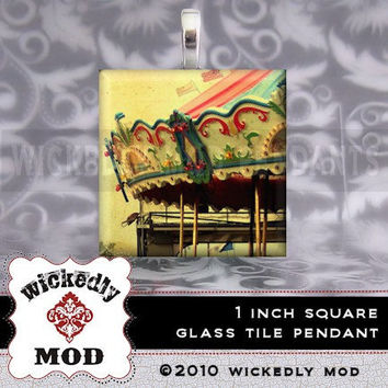 Vintage Merry Go Round glass tile pendant by Wickedly Mod