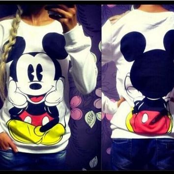 Mickey Mouse Print Lady's Sweatshirts 2018 Female Long Sleeve Hoodies Women Pullovers Sweatshirts Mujer O-Neck Hoodies F0232