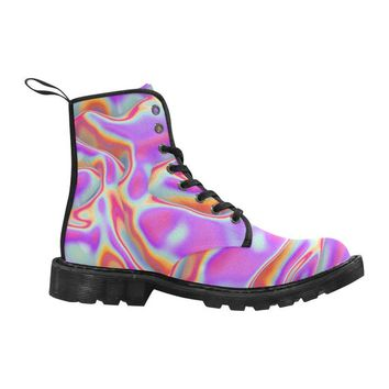 Glitched Holographic Lace Up Canvas Custom Women's Boot, Black Combat Ankle Booties