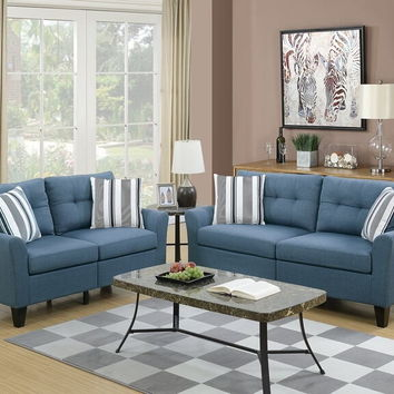 Poundex F6535 2 pc Collette II collection blue glossy polyfiber fabric upholstered sofa and love seat set