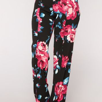 Vivian High Rise Pants - Black Floral