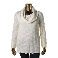 Style & Co. Womens Plus Cable Knit Cowl Neck Pullover Sweater