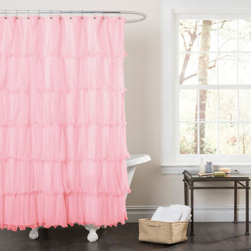 Pink Ruffled Microfiber Polyester Fabric Shower Curtain
