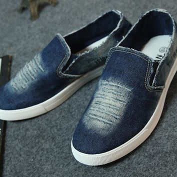 Men's washed denim casual shoes High quality men's canvas shoes Men's flat with the shoe