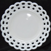 Milk Glass Plate by John Kemple Glass Co.