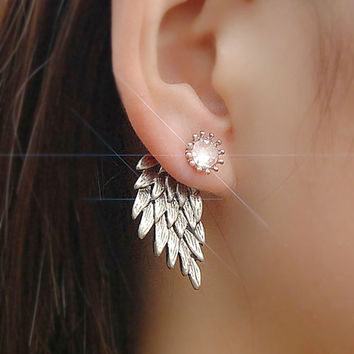 ES101 Women's Angel Wings Stud Earrings Rhinestone Inlaid Alloy Ear Jewelry Party Earring Gothic Feather Brincos Fashion 2017