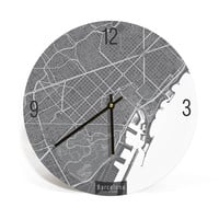 Barcelona, Spain, Contemporary Map Art Wall Clock
